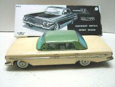 Vintage 1961 Japan Bandai Tin Friction Chevrolet Hardtop Car in NOX. A+. WORKS