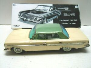 Vintage 1961 Japan Bandai Tin Friction Chevrolet Hardtop Car in NOX. A+. WORKS