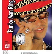 Funky Man Fancy Dress Ring - Fake Diamond Gem Bling Pimp Gangster