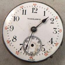 Vintage Vigilant Pocket Watch Movement 1j 33mm Dial - Swiss - For Repair