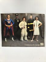 Vintage Uniforms Of Courage Career Poster White - Firefighter Astronaut Doctor