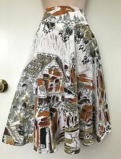 URBANE Vintage / Retro Styled Mexican Print & Sequin Full Circle Skirt sz 12