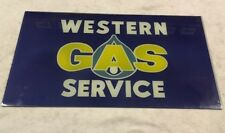 Vintage Reverse Painted Glass Sign Western Gas Service 36 X 20 Inches