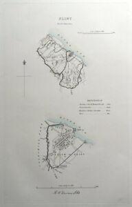 FLINT, FLINTSHIRE, WALES, Street Plan, Dawson Original antique map 1832