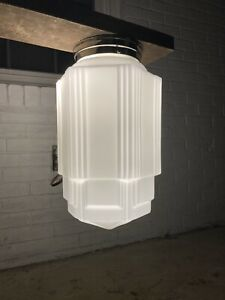 Vintage Art Deco Skyscraper Waterfall Ceiling Milk Glass Globe Light Fixture