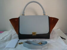 Authentic Celine Tri-color TRAPEZE Long Strap Shoulder Bag Excellent Condition