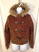 AREOPOSTALE Winter Coat Faux Fur Hood Brown Womans Size M Brown Soft Warm EUC