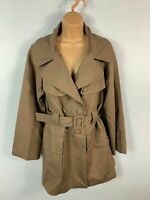 WOMENS FRENCH CONNECTION BROWN DOUBLE BREASTED CASUAL TRENCH COAT JACKET SIZE 10