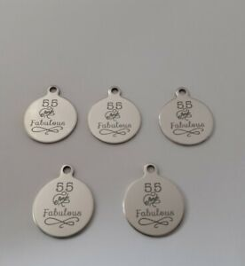 5 x Age 55 & Fabulous Charms, Laser Engraved Steel, 20 x 25 mm, Jewellery Making