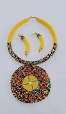 African Handmade round Maasai Beaded Necklace pendant Earrings set Yellow New