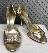 Aldo Heels Gold Shiny Open Toe Size 39 Slip On Fancy Formal Party Wedding Bling
