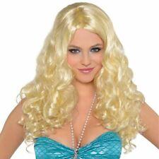 Womens Blonde HannahSea Curly Wig Girl Fancy Dress Nymph Mermaid Siren Montana