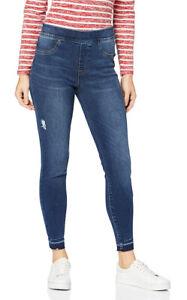 SPANX Blue Denim Distressed Ankle Skinny Jeans High-rise Leggings Pant M New