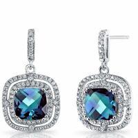 18K White Gold Plated 4ct London Blue &Swarovski Crystal Drop Earrings