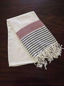 Turkish Cotton & Bamboo Bath Beach Towel Peshtemal Red Black Marina Series