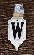 RARE POTTERY BARN Distressed Cream Iron Alphabet Letter W Wall Hook Discontinued