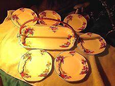 Vintage Art Deco English Dessert Set w/ Tray & 6 octagon plates. VGC- LOOK!!!