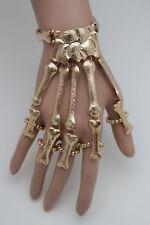 Women Gold Metal Hand Chain Fashion Jewelry Slave Ring Skeleton Skull Bone Charm