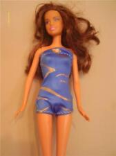 DOLL CLOTHES NEW BARBIE BATHING SUIT BLUE WITH GOLD LINES  PRINT NEW