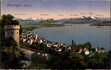 Überlingen Bodensee AK ~1910/20 Panorama mit See Vorarlberger Alpen Mainau u.a.