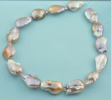 Giant FreshWater Mauve Purple Nucleated Flameball Baroque Pearl 18 Inch Strand