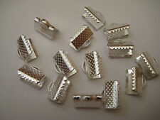 20 Silver Plated Textured End Caps Crimp Beads 10x8mm