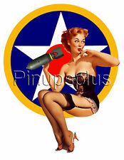 Single Bomber Pinup Girl on Military Roundel Nose Art Waterslide Decal S3