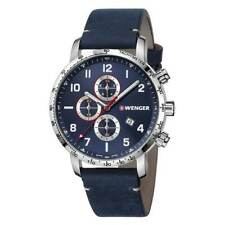 Wenger Swiss Made Men's Chronograph Watch Blue Leather Strap 01.1543.109