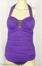 Jantzen One Piece Ruched Halter Swimsuit Purple Bandeau Bathing Suit Size 6