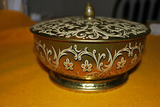 Vintage Round Tin GOLD TRACERY Floral Tea Cookie/ Candy Made In England