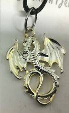 Silver Coloured Dragon Pendant On Cord Necklace 16in Gift J546