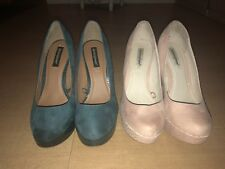 2 Pairs of Women's high heels size 5- Green And Nude