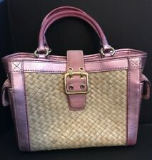 COACH  Metallic Pink Straw Weave and Suede Boxy Tote 4419 Handbag Purse