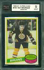 1980 81 OPC #140 RAY BOURQUE ROOKIE CARD KSA 9 MINT