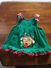 Rare Too Christmas 2T green corduroy jumper dress w/Reindeer and red bows