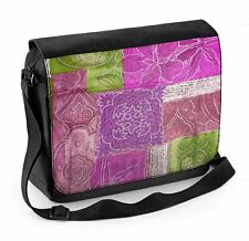 Patchwork Quilt Flowers Laptop Messenger Bag - Floral Flower