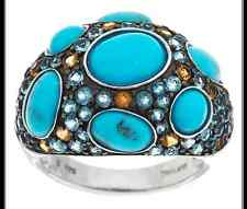 STERLING SILVER TURQUOISE AND 1.75 CT MULTI-GEMSTONE BAND RING SIZE 8 QVC $204