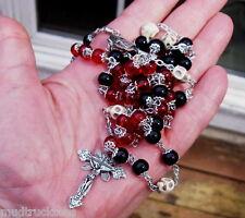Filigree black red glass bead rosary howlite skull stone handmade prayer tibet