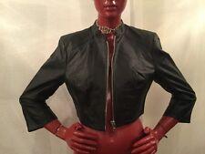 BEBE Black Leather Short Jacket, Front Zip Closure, U. S Women Size M
