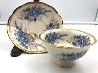 Ornamental Collectibles Lavender Lilacs w/ Gold trim Footed Cup & Saucer EUC