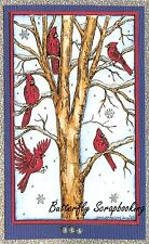 CARDINALS WINTER TREE SCENE Wood Mounted Rubber Stamp NORTHWOODS NN10161 New