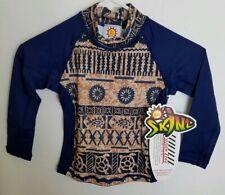 Sun Skinz Boys 2 XS Brown Blue Rash Guard Shirt Tribal Print Swimwear E12