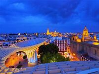 PRINT POSTER PHOTO CITYSCAPE SEVILLE SPAIN CATHEDRAL NIGHT VIEW LIGHTS LFMP0320