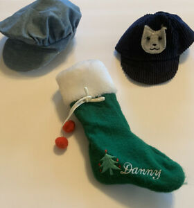 Vintage Doll  Hats Caps  lot of 2 Boys cotton and 1 Christmas Sock DANNY