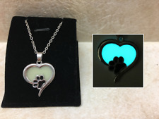 PAW Heart GLOW IN THE DARK Pet Love Silver Pet Charm Pendant Necklace Cat Dog