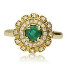 NEW 18CT GOLD EMERALD & DIAMOND CLUSTER RING