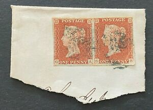 Great Britain QV 1841 Penny Red Pair GA, GB on Piece