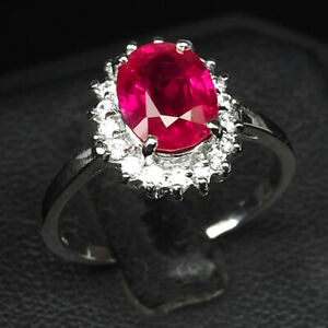 RUBY PINKISH REE OVAL 2.60 CT. SAPPHIRE 925 STERLING SILVER RING SIZE 7 JEWELRY