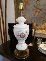 VINTAGE WHITE GLASS LAMP, HAND BLOWN HAND PAINTED GOLD FLORAL DESIGN AND TRIM