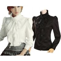 womens Winter Blouse Victorian Satin Shirt Silky vintage High Neck Top UK size